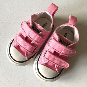 Converse Pink Low Top Velcro Sneakers Baby Sz 3